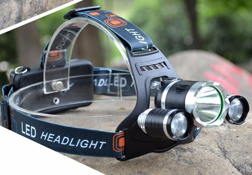 linterna de cabeza triple cañon minera con zoom recargable