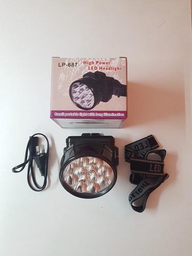 linterna de frente recargable 12led luz alta y baja