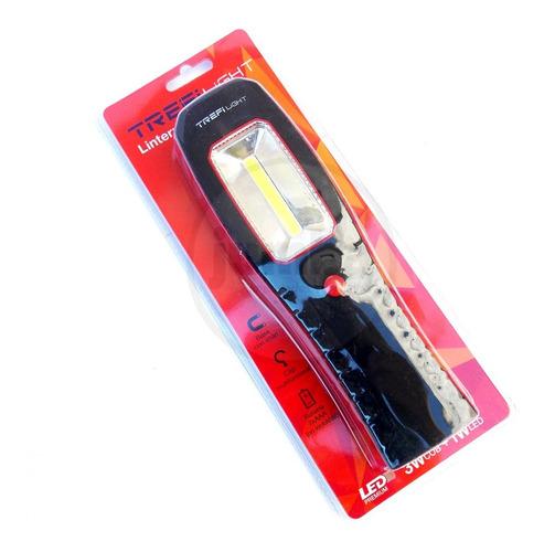 linterna de led dual 3w cob 1w led trefilight 6105 base imán