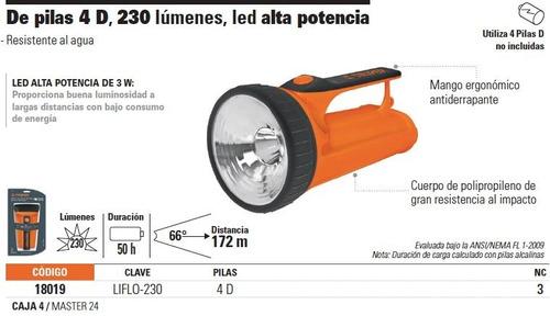 linterna de pilas 230 lumenes 1 led truper 18019