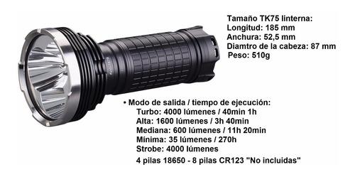 linterna fenix tk75 4000 lumens 4 pilas 18650 4 leds