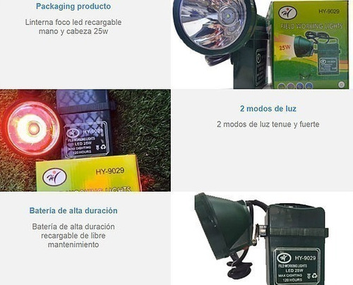 linterna foco led recargable mano y cabeza 25w  ml2901