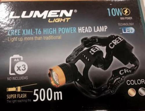 linterna frontal de cabeza lumen de alta potencia 10w 500m