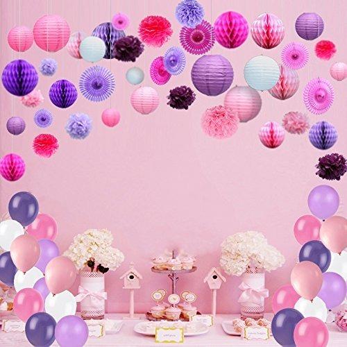 Linterna lampara decoraciones fiesta pompones globos rosa - Decoracion fiesta rosa ...