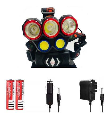 linterna led cabeza casco 5 led t10 lampara ciclismo camping