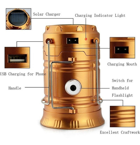 linterna led para camping solar cargador usb