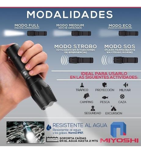 linterna led tactica bateria recargable + kit supervivencia