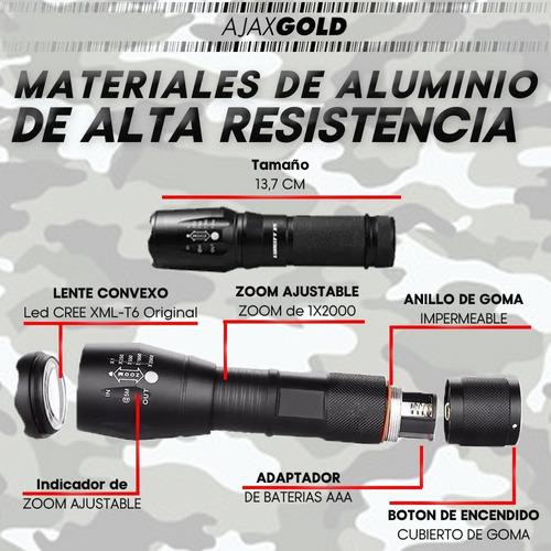 linterna led tactica bateria recargable t6 12000 lumens + pilas + funda