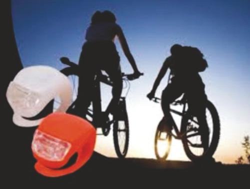 linterna luz bicicleta led delantera + trasera silicona dual