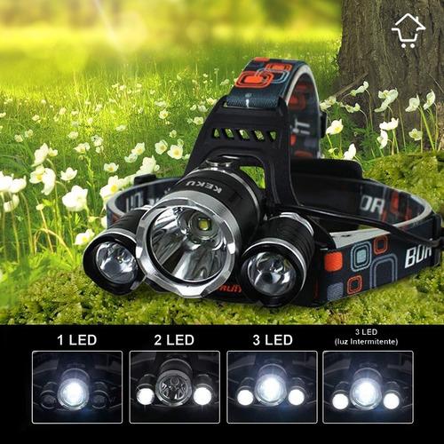 linterna minera led recargable 4 modos manos libres zoom 301