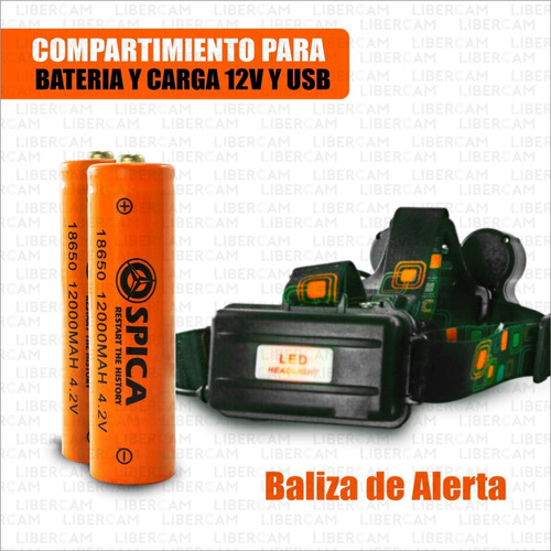 linterna minero led cabeza vincha 5 leds bateria