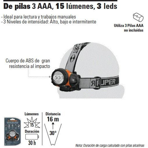 linterna para cabeza 15 lumens 3led truper cod: 4040202