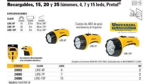 linterna pretul recargable 4 leds 15 lumenes lire-4p 24093