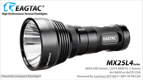 linterna profesional eagletac mx25l4t turbo led 2000lm 901m