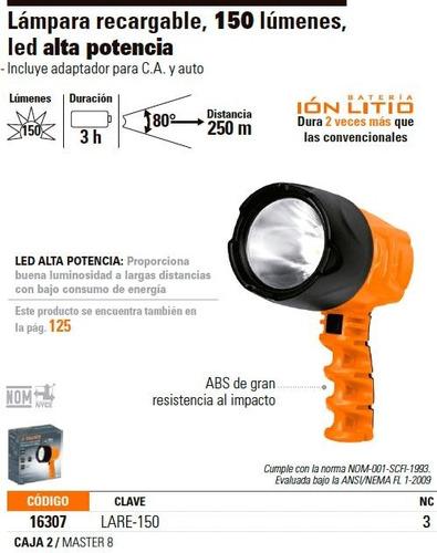linterna recargable 150 lumenes 1 led truper 16307