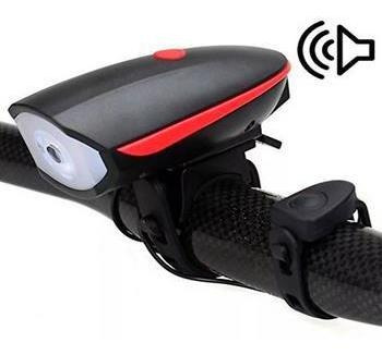 linterna recargable de bicicleta, luz blanca y pito