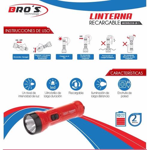 linterna recargable led iluminación larga distancia bros