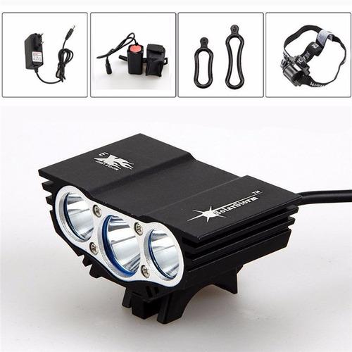 linterna recargable luz led bicicleta + brillo prueba agua