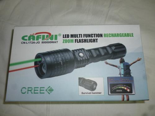 linterna tactica con laser verde y rojo zoom recargable led