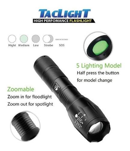 linterna táctica defensa taclight 5 modos zoom 22x brillante