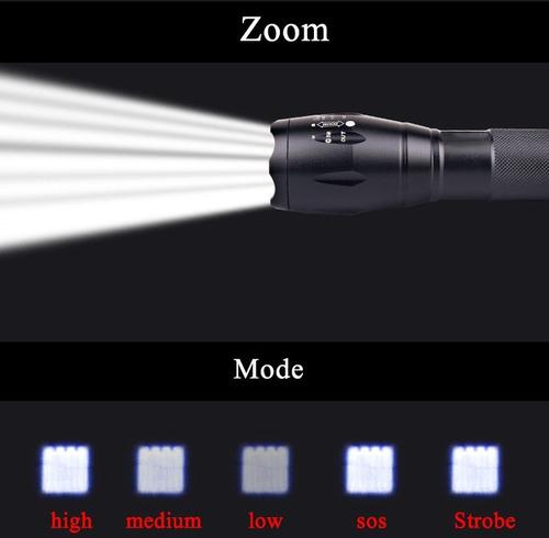 linterna tactica led con zoom recargable soporte bici +envio