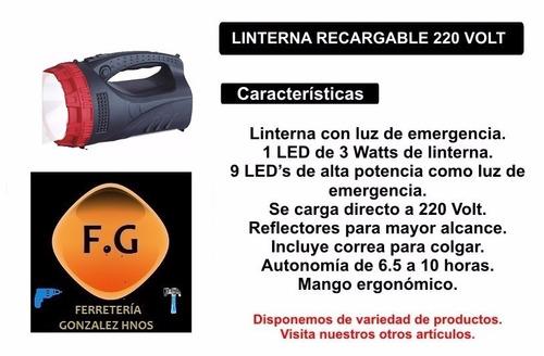 linterna y luz de emergencia recargable 3w + 9 leds efolight