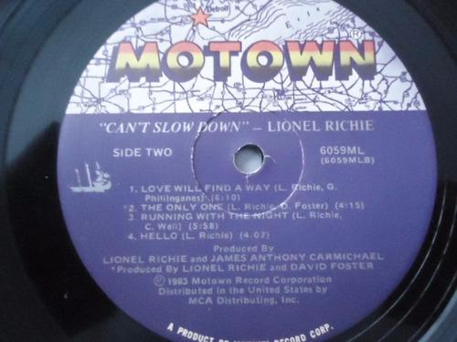 lionel richie / can t slow down vinyl lp acetato