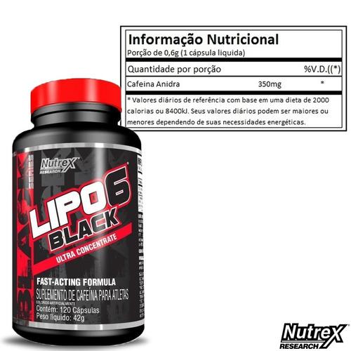 lipo 6 black - nutrex 120 cáps - termogênico + 3x max energy