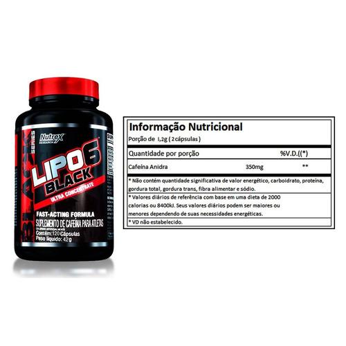 lipo 6 black nutrex 120caps termogênico original