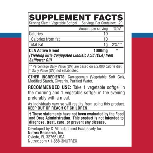 lipo 6 cla x 120 vegetables caps by nutrex research usa!! envio sin cargo a todo el pais!!