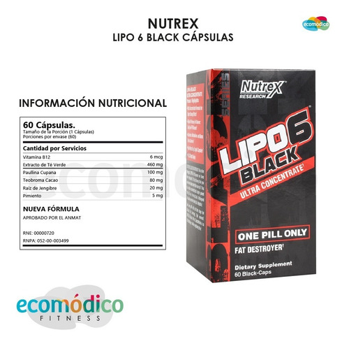 lipo 6 nutrex black 60 capsulas quemador de grasa