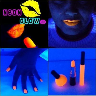 lipstick, esmalte gel y lipgloss neon fluorescente mdn