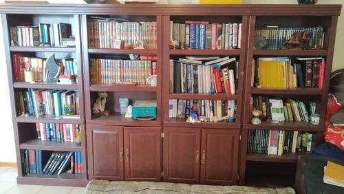 liquidación biblioteca modular en madera color caoba