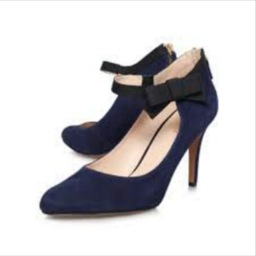 liquidacionzapatos de gamuza nine west talla 7.5 azul marino