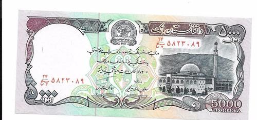 liquido billete de afganistán.  5000 afganis 1979 unc