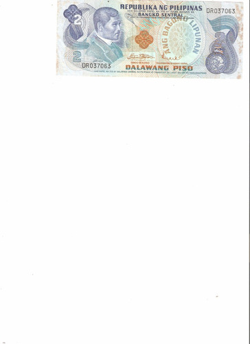 liquido billete de filipinas 2 pesos 1973