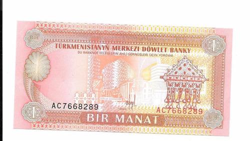 liquido billete de turkmenistan.  1 manat 1993 unc