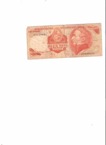 liquido billete de uruguay.  10.000 nuevos pesos 1987