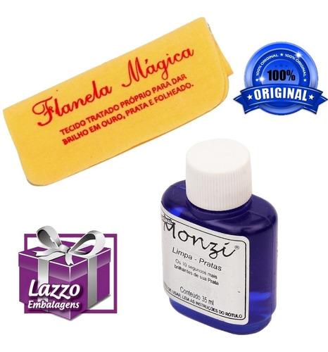 liquido limpa joias em prata monzi 35ml original + flanela
