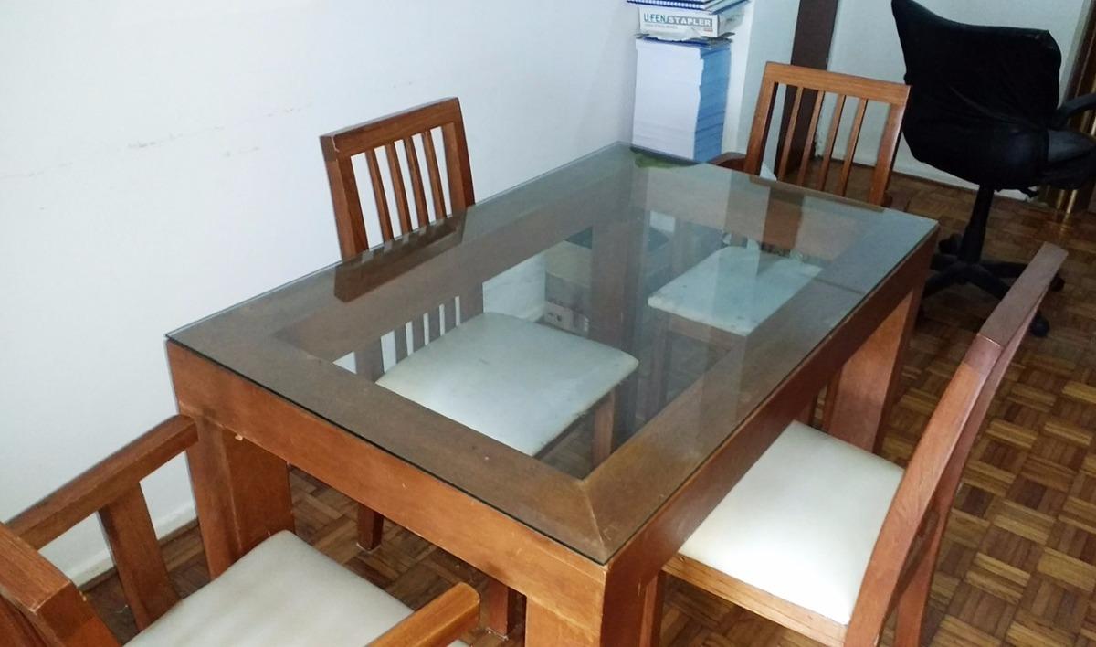 Liquido Mesa Comedor Madera Y Vidrio Moderna - $ 2.500,00 en Mercado ...