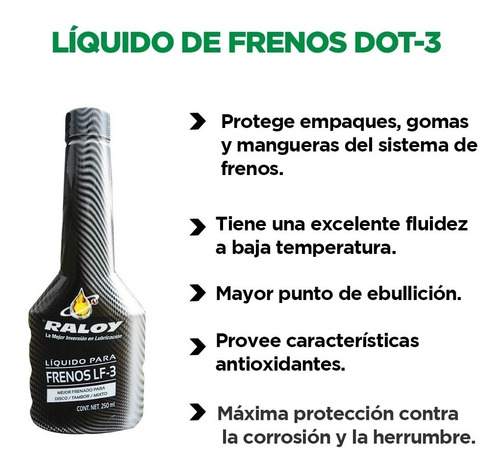 liquido para frenos raloy dot-3 bot. 250ml tienda oficial