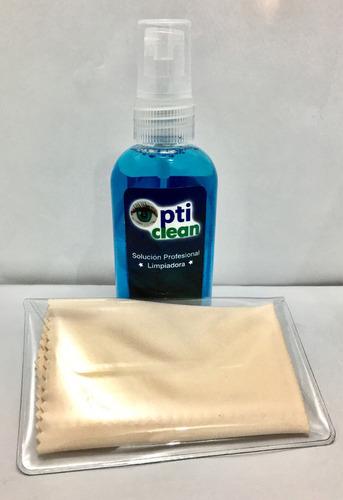 liquido para limpiar lentes y  2 micro fibras