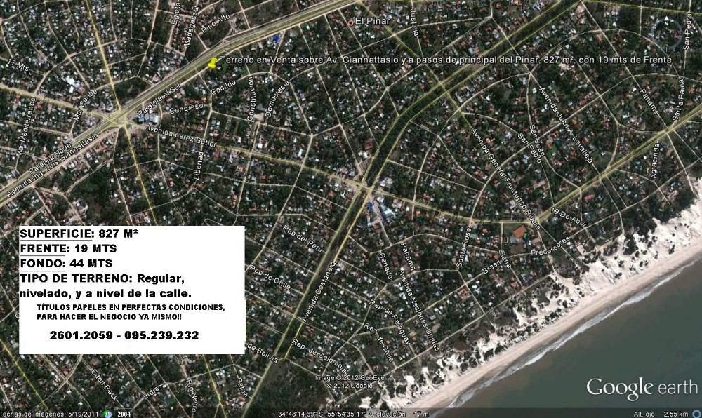 liquido x pandemia el pinar 830m², con 19 metros de frente.