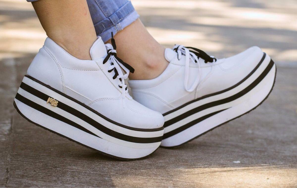 5cc8afe145d Liquido!! Zapatillas Sneakers Urbanas Plataforma Blancas 37 -   890 ...