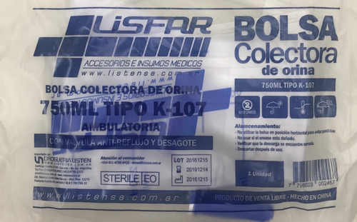 lisfar bolsa colectora de orina ambulatorio modelo k 107 x 1