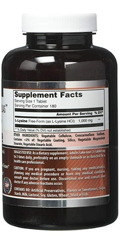 lisina 1000mg (180 tablets) amazing formulas (made in usa)
