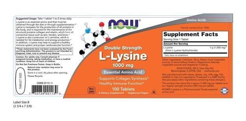 lisina 1000mg now foods 100tabletes - original, importado