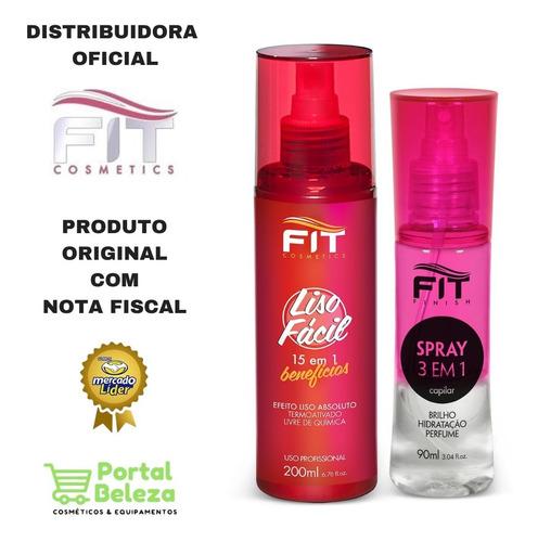 liso fácil termo ativado + spray 3 em 1 - fit cosmetics