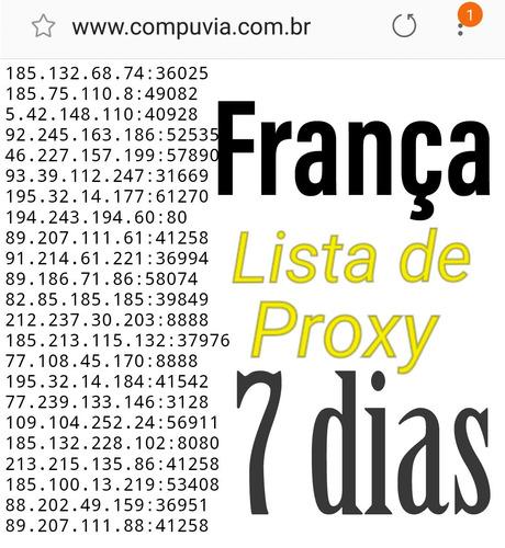 lista de proxy frança 7 dias