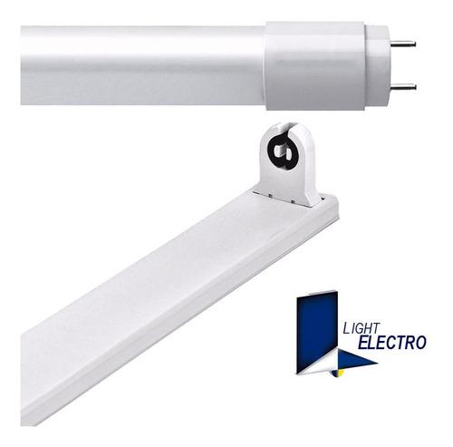 liston 120cm con tubo led t8 18w luz fria listo instalar